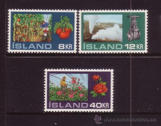 ISLANDIA 418/20* - AÑO 1972 - AGRICULTURA - CULTIVO EN INVERNADEROS - FLORA - FRUTOS Y FLORES (Sellos - Extranjero - Europa - Islandia)