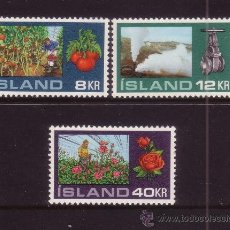 Sellos: ISLANDIA 418/20** - AÑO 1972 - AGRICULTURA - CULTIVO EN INVERNADEROS - FLORA - FRUTOS Y FLORES. Lote 37597508