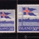 Sellos: ISLANDIA 286/87* - AÑO 1958 - 40º ANIVERSARIO DE LA BANDERA. Lote 37633502