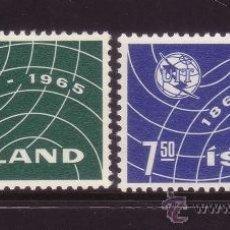 Sellos: ISLANDIA 345/46** - AÑO 1965 - CENTENARIO DE LA UNION INTERNACIONAL DE TELECOMUNICACIONES. Lote 37633554