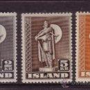 Sellos: ISLANDIA 186/88** - AÑO 1939 - ESTATUA DE KARLSEFNI. Lote 37760357
