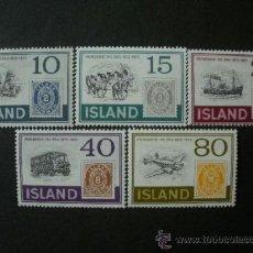 Sellos: ISLANDIA 1973 IVERT 426/30 *** CENTENARIO DEL SELLO - MEDIOS DE TRANSPORTE. Lote 37773611