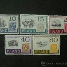Sellos: ISLANDIA 1973 IVERT 426/30 *** CENTENARIO DEL SELLO - MEDIOS DE TRANSPORTE . Lote 37832293