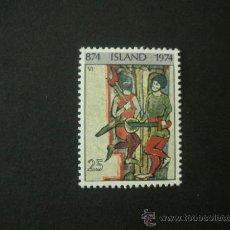 Sellos: ISLANDIA 1974 IVERT 445 *** 1100º ANIVERSARIO SOPORTE DE ISLANDIA - PINTURA. Lote 37832394