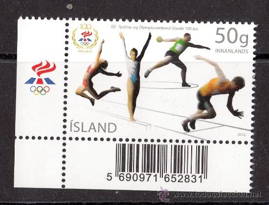 ISLANDIA 2012. 100 AÑOS DE LA ASOCIACION DE DEPORTES OLIMPICOS DE ISLANDIA (Sellos - Extranjero - Europa - Islandia)