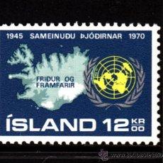 Sellos: ISLANDIA 402** - AÑO 1970 - 25º ANIVERSARIO DE NACIONES UNIDAS. Lote 39181657