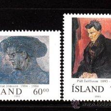 Sellos: ISLANDIA 704/05** - AÑO 1991 - ISLANDESES CÉLEBRES - RAGNAR JONSSON - PALL ISOLFSON - MUSICA. Lote 39196958