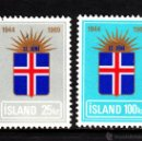 Sellos: ISLANDIA 385/86** - AÑO 1969 - 25º ANIVERSARIO DE LA REPUBLICA. Lote 39378814