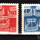 Sellos: ISLANDIA 381/82** - AÑO 1969 - BARCOS - CENTENARIO DE LA COMUNIDAD ESCANDINAVA. Lote 124635436