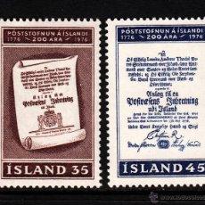 Sellos: ISLANDIA 469/70** - AÑO 1976 - BICENTENARIO DEL SERVICIO POSTAL ISLANDES. Lote 39682555