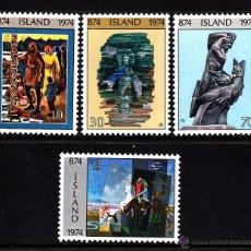 Sellos: ISLANDIA 438/41** - AÑO 1974 - 1100º ANIVERSARIO DE ISLANDIA - PINTURA - ESCULTURA. Lote 41988231