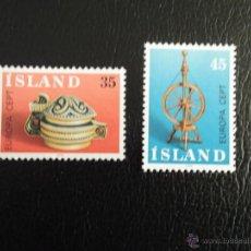Islandia. 467/68 Europa: Artesanado - Recipiente de madera y torno de hilar**. 1976. Sellos nuevos y