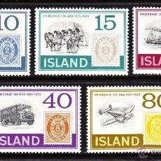 Sellos: ISLANDIA 426/30** - AÑO 1973 - CENTENARIO DEL SELLO - BARCOS - AVIONES - AUTOMOVILES. Lote 124635882