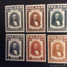 Sellos: ISLANDIA Nº YVERT 202/7*** AÑO 1944. PROCLAMACION DE LA REPUBLICA. SIGURDSSON . Lote 56748005