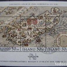 ISLANDIA - H.BLOQUE IVERT Nº12 USADA - EXP- FILATEL. INT. NORDIA 91 (R135)