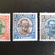 Sellos: SELLOS DE ISLANDIA. YVERT A-8/11. SERIE COMPLETA NUEVA CON CHARNELA. ZEPPELIN. SOBRECARGADOS. FOTOS.. Lote 83387416