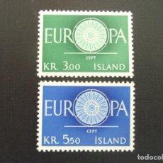 Sellos: ISLANDIA Nº YVERT 301/2*** AÑO 1960. EUROPA. Lote 133500686