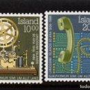 Sellos: ISLANDIA 611/12** - AÑO 1986 - 80º ANIVERSARIO DEL SERVICIO TELEFONICO ISLANDES. Lote 142878410