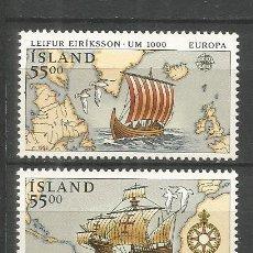 Sellos: ISLANDIA YVERT NUM. 715/716 ** SERIE COMPLETA SIN FIJASELLOS. Lote 143191646