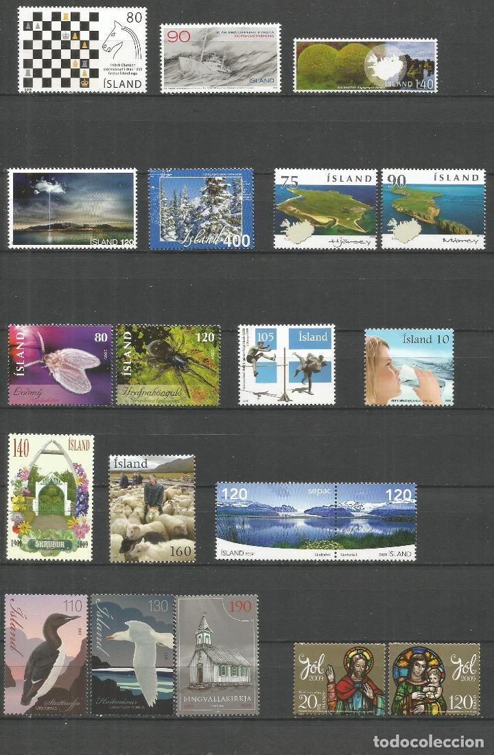 ISLANDIA AÑOS 2008 Y 2009 CONJUNTO DE SERIES COMPLETAS ** NUEVAS SIN FIJASELLOS VAL.CAT. 45,10 EUROS (Sellos - Extranjero - Europa - Islandia)