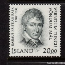 Sellos: ISLANDIA 620** - AÑO 1987 - BICENTENARIO DEL NACIMIENTO DEL LINGÜISTA RASMUS KRISTJAN RASK. Lote 143720370