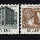 Sellos: ISLANDIA 605/06** - AÑO 1986 - CENTENARIO DEL BANCO NACIONAL. Lote 144861998
