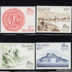 Sellos: ISLANDIA 607/10** - AÑO 1986 - BICENTENARIO DE REYKJAVIK. Lote 144862130