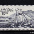 Sellos: ISLANDIA 616** - AÑO 1987 - BARCOS - TRICENTENARIO DE OLAFSVIK. Lote 144862398