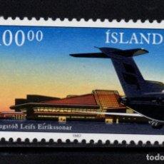 Sellos: ISLANDIA 617** - AÑO 1987 - AVIONES - NUEVO HANGAR DE KLEFAVIK. Lote 144862562