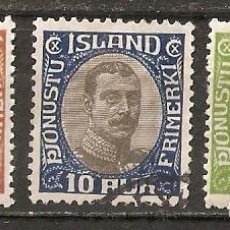 Sellos: ISLANDIA. 1920-30. SERVICIO YT 35,36,38. Lote 148443014