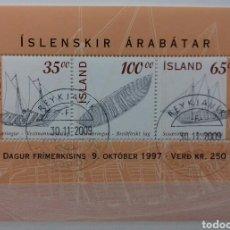 Sellos: HOJA BLOQUE DE ISLANDIA DIA DEL SELLO, BARCOS ISLANDESES 1997. Lote 149766382