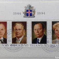 Sellos: HOJA BLOQUE DE ISLANDIA, 50 ANIVERSARIO DE LA REPÚBLICA. PRESIDENTES 1994. Lote 149766416