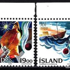 Sellos: 1988 ISLANDIA YVERT YT 648/649 MICHEL MI 695/696 MNH** NUEVOS SIN CHARNELA - NAVIDAD BARCOS PESCA. Lote 149940938