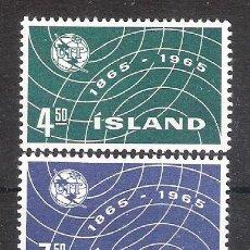 Sellos: ISLANDIA Nº 345/346** CENTENARIO DE LA U.I.T. SERIE COMPLETA. Lote 151475466