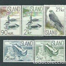 Sellos: ISLANDIA - CORREO 1959 YVERT 294/8 * MH FAUNA. Lote 159540780
