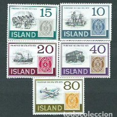Sellos: ISLANDIA - CORREO 1973 YVERT 426/30 ** MNH CENTENARIO DEL PRIMER SELLO. Lote 159541240