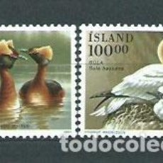 Sellos: ISLANDIA - CORREO 1991 YVERT 691/2 ** MNH AVES. Lote 159542332
