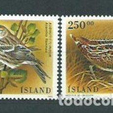 Sellos: ISLANDIA - CORREO 1995 YVERT 781/2 ** MNH AVES. Lote 159542732