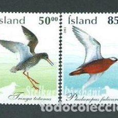 Sellos: ISLANDIA - CORREO 2002 YVERT 950/1 ** MNH AVES. Lote 159543526