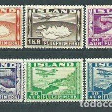 Sellos: ISLANDIA - AEREO YVERT 15/20 * MH AVIONES. Lote 159544969