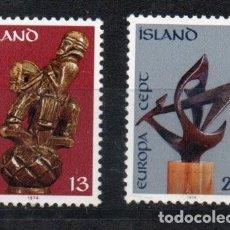 Sellos: ISLANDIA AÑO 1974 YV 442/43*** EUROPA - ESCULTURA - ARTE. Lote 168634476