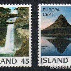 Sellos: ISLANDIA AÑO 1977 YV 475/76*** EUROPA - VISTAS Y PAISAJES - TURISMO. Lote 168634648