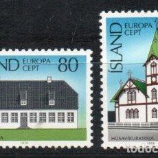 Sellos: ISLANDIA AÑO 1978 YV 483/84*** MONUMENTOS Y EDIFICIOS - ARQUITECTURA. Lote 168635420