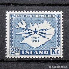 Sellos: ISLANDIA 1956 ~ TELÉFONO Y TELÉGRAFO EN ISLANDIA ~ SELLO NUEVO MNH LUJO. Lote 178949791