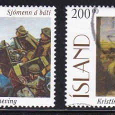 Sellos: ISLANDIA 1996 - PINTURA SERIE COMPLETA USADA YVERT Nº 795/796. Lote 180421901