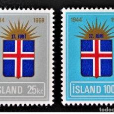 Sellos: SELLOS NUEVOS CON LIGERAS MARCAS DE CHARNELAS DE ISLANDIA, YT 385/ 86. Lote 184267037