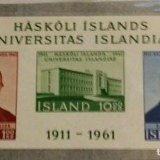 Sellos: HOJITA ISLANDIA 1961,CAT.YT BF 3,NUEVA,GOMA ORIGINAL,SIN FIJAS.. Lote 186463062