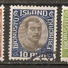 Sellos: ISLANDIA. 1920-30. SERVICIO YT 35,36,38. Lote 191401907
