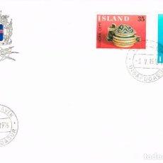 Sellos: ISLANDIA IVERT Nº 467/8, ARTESANIA: RECIPIENTE DE MADERA ESCULPIDO Y RUECA, PRIMER DIA DE 3-5-1976. Lote 191804005