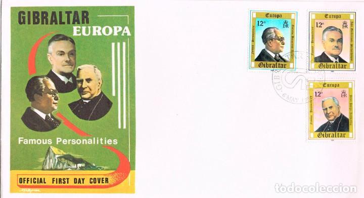 GIBRALTAR IVERT Nº 407/9, PERSONAJES: BACARISAS, ARTISTA,MACKINTOSH, FILANTROPO, PRIMER DIA 6-5-1980 (Sellos - Extranjero - Europa - Islandia)